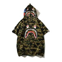 summer youth camouflage hooded T- shirt men' s casual loo...