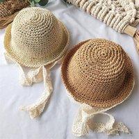 Bébé enfants chapeaux de paille Mode Visière avec Lacets plage Chapeau mignon Stingy Brim chapeaux de soleil pliable Respirant Sunhat fodera Sport Caps Cadeaux