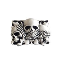 New Vintage Original Black Enamel Flame Shy Skulls Tattoo Be...
