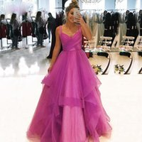 2020 Il vestito Charming Fushia promenade di colore rosa V-collo elegante cinghie Pleat corpetto Ruch vestiti convenzionali di Tulle vestito da sera lungo