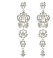 도매 2pcs / lots 고품질 유행 다이아몬드 결정 925은 여자의 교차하는 earings 12 (9.9 * 2.3cm)