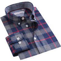 Chemises occasionnelles pour hommes Chemises à carreaux à carreaux brossé 100% coton chemise à manches longues boutonnage standard-ajustement de collier contraste couleur gingham