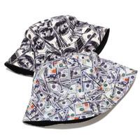 Cotton Double Sided creativo dollaro Graffiti Bucket Hat Cappello Pescatore da esterno di viaggio del sole della protezione cappelli per le donne