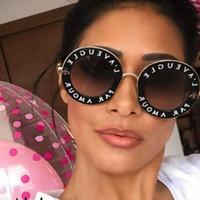 1fea2655737ac Lunettes de soleil rondes rétro femmes marque designer anglais lettres  abeille cadre en métal lunettes de