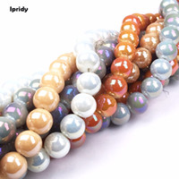 Ipridy Opec white Coating Metallic Color Round Glass Bead St...