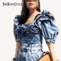 Twotwinstle Clothing Denim Crop Tops Female Puff Shell Quadr...