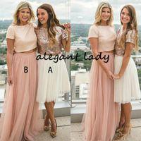 Modest Dusty Pink Rose Gold Pailletten Brautjungfernkleider mit Ärmel Sexy Zweiteiler Prom Party Kleider Für Land Hochzeit Jewel Bodenlangen