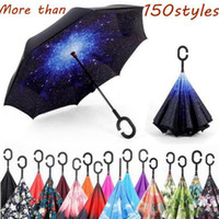 Inversa à prova de vento Umbrella criativa Inverted-chuvas com C Handle Double Layer Inside Out everted Parachute Guarda-chuvas 150 estilo LXL1196-2