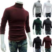 Yeni Sonbahar Kış Erkek'S Süveter erkekler'S Turtleneck Katı Renk Casual Triko Erkek Slim Fit Marka Örme Kazaklar