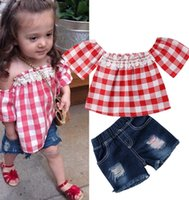 Toddler Baby girl costume sleeve Ruffled t shirt Plaid print...