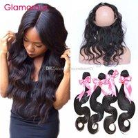 Гламурная волна тела человеческие волосы плетения с закрытием 360 кружевной полосы Frontal с 4 пучками необработанных перуанских индийских малазийских бразильских волос