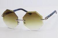 Commercio all'ingrosso di vendita degli occhiali da sole Rimless Metal Mix plaid blu Plank 4.189.706 Grande quadrato gli occhiali di alta qualità Eyewear maschile e femminile caldo