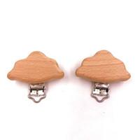 Cadena de pezón de madera natural Accesorios de alimentación de bebé Chupete Cierre lindo Modelado Beech Chapifier Clip Forma de nubes Bebé DIY preferido