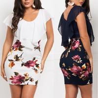 Damen Mode-Sommer-beiläufige Blumendruck-Minikleid OL gefälschte zweiteilige Printed Slim Fit Bodycon Hüfte kurzes Kleid Sets Elegante Sexy Kleidung