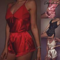 2 piezas Conjunto atractivo de las mujeres del cordón del satén de la honda del V-cuello de la ropa de noche de la muñeca de la ropa interior pijamas Camisón