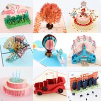 Hot 3D Up Cards Carrusel Madre Día del padre Feliz cumpleaños Aniversario Tarjetas de felicitación Invitaciones vintage Personalizadas con sobre