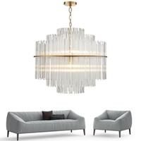 Illuminazione moderna del candeliere Salone di lusso Rod di vetro che appende la lampada rotonda di lusso della decorazione di lusso Lampade di cristallo UPS