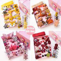 24X / Gift Einhorn Muster Box Set-Kind-Mädchen-Haar-Klipp-Band-Cartoon Tiere Hairclips Kind-nette Kaninchen-Haarnadel Großhandel