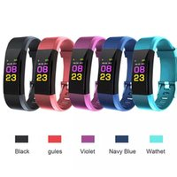 ID115 Plus Smart Wristband Braccialetto Heart Rate LED Monitor della pressione sanguigna Monitor a colori Pedometro Fitness Tracker per iPhone Android Top