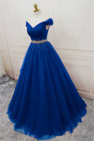 2019 New Sexy Bateau Crystal Sweetheart Blue Ball Gown Party...