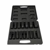 """1/2 """"unidade métrica impacto profundo soquete set 16 peça 10-32mm em caso de garagem de alta qualidade profissionais ferramenta de pneu"""