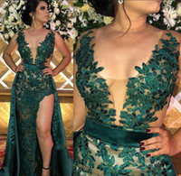 Dark Green Lace Applique African Evening Dresses Overskirts ...