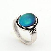 New Trendy Fashion Womens Gemens Bohemian Style Anelli Fancy 12 Colori Cambia Mood Oval Gemstone Ring Dimensione 7 8 9