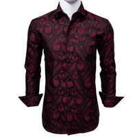 Fast Shipping Silk Men's Long Sleeve Shirts Jacquard Woven Red Black Paisley Slim Shirts for Dress Party Wedding Quality Exquisite Fashion