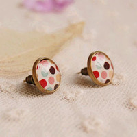 2ca31d5b5 New Arrival. arings girls Colorful Polka Dots Glass Cabochon Post Earrings  for Girls ...