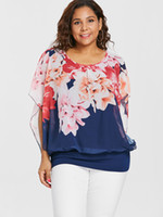 af1634ce297708 New Arrival. Wipalo Plus Size Loose Floral Print Overlay Popover Blouse  Casual Three Quarter Spring Summer Blouse Women Big Size 5xl Blusas Y190510
