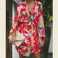 Herbst-Sommer-Frauen Langarm-Böhmischer Blumen beiläufige lose lange Oberseiten Kimono Cardigan Aufflackern-Hülsen-dünnes Hemd drucken