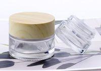 5g frasco de vidro claro 5 ml mini pequeno frasco de vidro cosmético recipiente cera creme concentrado stash armazenamento com madeira de grão tampa de plástico logotipo personalizado