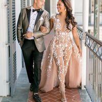 2019 Árabe Jumpsuit Evening Prom Dress Com Overskirt Sexy Sheer V-Neck Cap Sleeve Partido Vestidos Custom Made