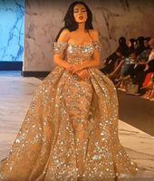 Robes de soirée 2019 Yousef Aljasmi Dubai arabe à manches courtes épaule épaule robe de bal Robe de soirée en dentelle pailletée Overskirt robe de bal
