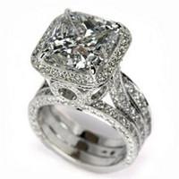 Vente chaude Vintage Fashion Bijoux 925 Sterling Silver Princesse Coupe Blanche Topazz CZ Diamond Gemstones Party Mariage Engagement Bague Bague