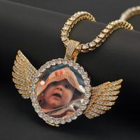 Пользовательские сделанные фото с крыльями медальоны ожерелье кулон с веревочной цепочкой кубический циркон мужской хип-хоп ювелирные изделия