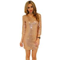 Новый стиль весеннее платье женщины o шеи с длинным рукавом блестка блестки Спинки Bodycon тонкий карандаш платья партии