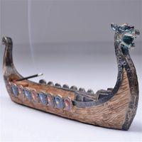 Dragon Boat bâton de l'encens Porte-brûleur sculpté à la main Accueil encensoir Ornements Rétro encens traditionnel Burners design décoratif Figurines