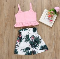 girls clothes suit spring summer new sling pink shirt bird l...