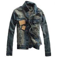 MCCKLE Marka Tasarımcı Erkek Çizik Jean Ceket Moda Vintage Slim Fit Denim Ceket Aşağı Yaka Casual Veste Homme1 çevirin Toptan