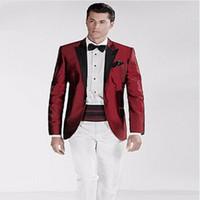 Erkekler Takım Elbise Blazers TPSAADE Iki Parçalı Bordo Damat Smokin Düğün Siyah Zirveli Yaka Custom Made Gormal Erkekler (Ceket + Pantolon + Kravat)