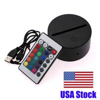 كابل حار بيع متعدد الألوان اللمس مفتاح الأسود الحديثة USB عن بعد ليلة ضوء التحكم الاكريليك 3D بقيادة مصباح الليل تجميعها قاعدة LED مصباح الليل