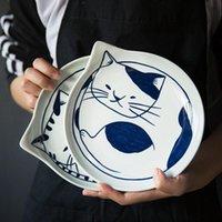 Японский стиль Керамические Teardrop Тарелки Посуда Наборы посуды Фрукты Креативный дизайн Смазливая мультфильм Lucky Cat Pattern