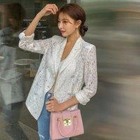 여성 정장 블레이저 2021 여름 한국어 레이스 블레이저 스모커 더블 브레스트 섹시한 코트 노치 칼라 캐주얼 outwear