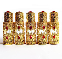 3 ml Antiqued Metall Parfüm Flasche Arabischen Stil Ätherische Öle Flasche Legierung Dropper Glasflasche Hochzeit Dekoration Geschenk Gold