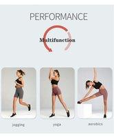 米国の在庫!女性のハイウエストのショーツフィットネスヨガをランニングジムカジュアル固体弾性ストレッチスポーツショートパンツ5色3スタイル20090