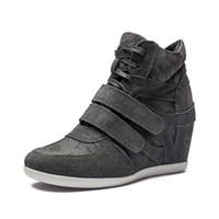 Hot Sale-Young Damska Formalna Klin Koreański Styl Hidden Heel Suede Sneaker Lace-Up Buty sportowe