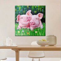 # Encadré Unframed -1 à 0054 Mintura Deux Aimer Pigs Home Decor Artisanats ou de l'huile d'impression HD Peinture Sur mur toile Photos Toile