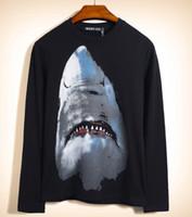2020 الرجال الفاخرة تصميم القميص الأسود جديد رجل إمرأة كلاسيكي القرش 3D طباعة كم طويل تي شيرت طالب القطن سليم القميص الكبس