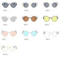 새로운 패션 복고풍 남성 선물 여성 회색 렌즈 금속 프레임 라운드 태양 안경 스팀 펑크 액세서리 라운드 선글라스를 스팀 펑크.
